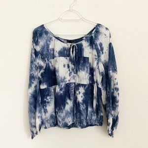 Line & Dot Tie Dye Long Sleeve Top NWT L